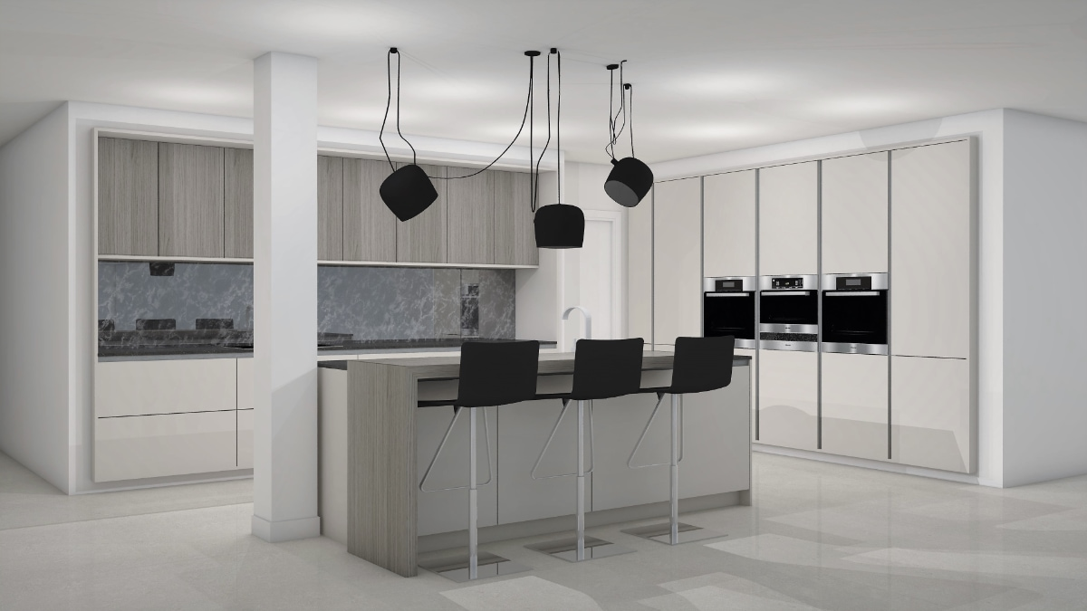 Render con diseño de cocinas en ByBalaguer